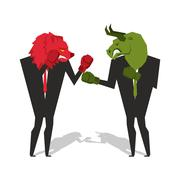 Bear and bull are boxing. Traders fight. Businessmen combat in business suit  - stock illustration