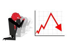 Red Bear prays for fall in rate of exchange. Red down arrow. Worship of money - stock illustration