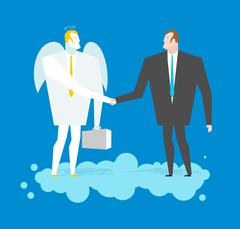 Deal with Angel. Businessman and cherub make deal in heavens. Archangel and m - stock illustration