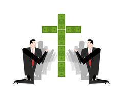Businessman praying for money. Adoration of dollars. Financial idol. Prayer c Stock Illustration