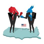Donkey and elephant fight. Democrat and Republican opposition. Businessmen co Stock Illustration