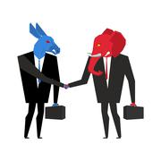 Elephant and donkey deal. Democrats and Republicans shake hands. Handshake of Stock Illustration