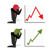Bull and Bear pray to bet on stock exchange. Green up arrow. Red down arrow.  - stock illustration