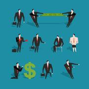 Set of businessman in various poses and situations. Man in business suit at w - stock illustration