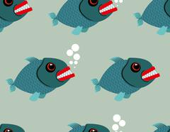 Piranha seamless pattern. Toothy fish vector background. Terrible, bloodthirs - stock illustration