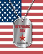 Soldiers badge on background of United States flag. Veterans day engraved on  - stock illustration