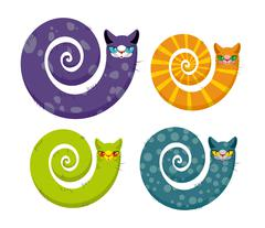 Cat with  long tail. Snake cat. Set of fantastic animals color coloring. Unre - stock illustration