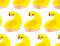 Chicken farm seamless pattern. Vector background of chickens and eggs. Many h Stock Illustration