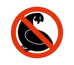Stop chicken. hen trespassing. Banning  Red sign. - stock illustration