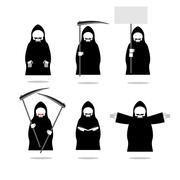Set deaths in overalls. Grim Reaper in different poses. Skeleton in cloak wit - stock illustration