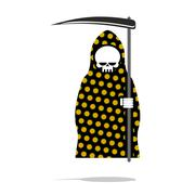 Death in black Pajamas with yellow flowers. Grim Reaper in hood and oblique.  Stock Illustration