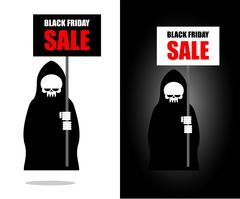 Death holds banner. Black Friday sale. Grim Reaper keeps sheet. - stock illustration