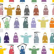 Funny death in bright robes seamless pattern. Texture of many  Grim Reaper .  - stock illustration