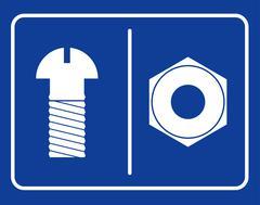 Bolt and nut restroom sign. Symbol public toilet. Sign male toilets bolt. Sig - stock illustration