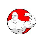 Bodybuilder with big muscles. Emblem gym. Logo for team sport athletes. Stron - stock illustration