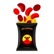 Hellish chips for Halloween. Packing snacks with Satan. Hellfire in black tut - stock illustration
