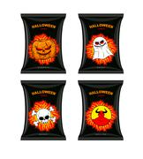 Set chips for Halloween. Terrible Food for holiday. Snacks with different tas Stock Illustration