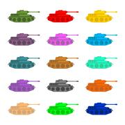 Set multicolored Tanks. Military equipment on white background, armored comba Piirros