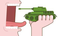 Man eating tank. Destruction of military transport. Open mouth with tongue an - stock illustration