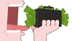 Man eating money. Destruction of suitcase with cash. Open mouth with tongue a Stock Illustration