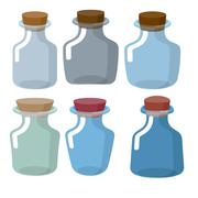 Glass bottles of different shapes with Stoppers in laboratory. Vector retro c - stock illustration