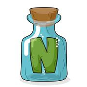 N in magical bottle. Letter in a bottle for laboratory and scientific researc Stock Illustration