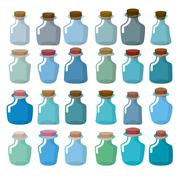 Set of glass bottles for laboratory research. Magic bottle with a wooden stop - stock illustration