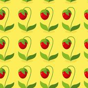 Ripe red strawberries with green leaves seamless pattern. Vector background o - stock illustration