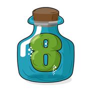 Seven in Bank for chemical research. Figure 7 magic bottle. Laboratory studie Stock Illustration