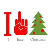 I hate Christmas. Symbol of hatred fuck and tree. - stock illustration