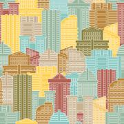Urban seamless pattern. Colorful buildings in city, metropolis. Multi-colored - stock illustration