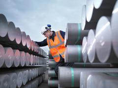 Port Worker Inspecting Cargo Stock Photos