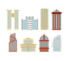 Colored skyscrapers, office buildings of modern city. Vector set buildings. - stock illustration