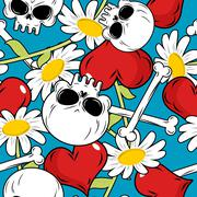 Skull and love seamless patetrn. Red heart and white daisies. Flowers and bon Stock Illustration