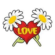 Love. Heart and Chamomile. Logo for Valentines day. 14 February holiday lover - stock illustration