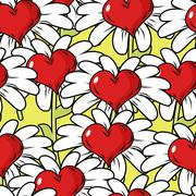 Flower of love seamless pattern. Flower meadow. Ornament from hearts and Cham - stock illustration