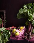 Still life with fresh seasonal produce with rhubarb, beetroot and quince Stock Photos