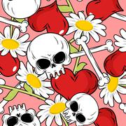 Love and death seamless pattern. Red heart and skull and Chamomile. Backgroun - stock illustration
