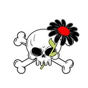 Flower of death and skull. Black Daisy flower grows their orbit of skeleton. - stock illustration