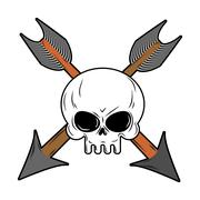 Skull and arrow from bow. Symbol death of head skeleton - stock illustration
