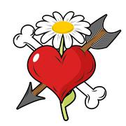 Red heart piercing arrow symbol of love. Bone is symbol of death. Flower of l Stock Illustration