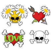 Love and death Set elements. Skull and red heart. Flower and arrow of Cupid.  - stock illustration