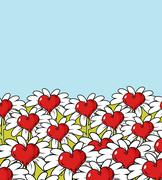 Love flower landscape. Chamomile meadow. Blue sky and red heart with white pe - stock illustration