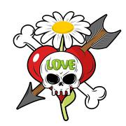 Death and love. Skull and red heart. Sign for tattoos. Chamomile and bone. Cu Stock Illustration