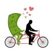 Money for bike. Lovers of cycling. Man rolls dollar on tandem. Joint walk wit Stock Illustration