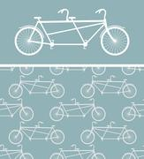 Bike seamless pattern. bicycle Tandem texture. Ornament of wheeled vehicle. O Stock Illustration