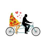 Pizza on bicycle. Lovers of cycling. Man rolls a slice of pizza on tandem. Jo Stock Illustration