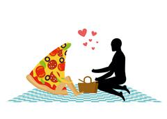 Pizza on picnic. Rendezvous in Park. piece of pizza and man. Country lovers j Stock Illustration