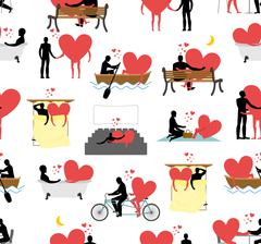 Lovers set of silhouettes seamless pattern. Heart and ornament person. Man an - stock illustration