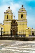 The baroque style Monastery of San Francisco in Lima - stock photo